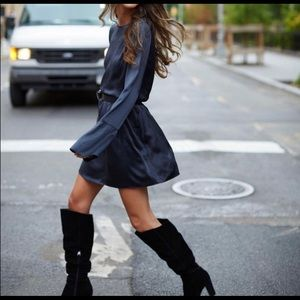 Something navy grey silky bell sleeve mini dress